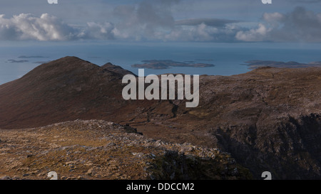 The view west from the slopes of Sgurr an Fhidhleir to the Summer Isles, Scottish Highlands, Scotland UK - Stock Photo