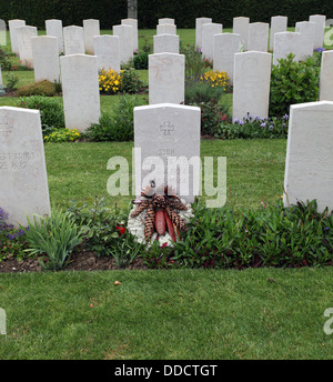 German graves in The British War cemetery at Bayuex, France Bayeux Commonwealth War Graves Commission Cemetery - Stock Photo