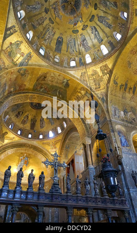 Religious mosaic painting on the dome of St. Marco Church internal, Venice Italy - Stock Photo