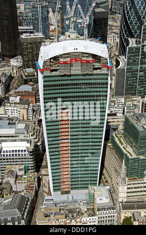 aerial view of The Walkie-Talkie building in the City of London, also know as The Pint because of its shape - Stock Photo