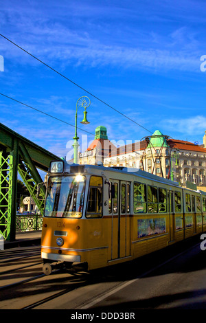 Gellert Hotel and Spa, Liberty Bridge and Tram, Budapest, Hungary, East Central Europe - Stock Photo