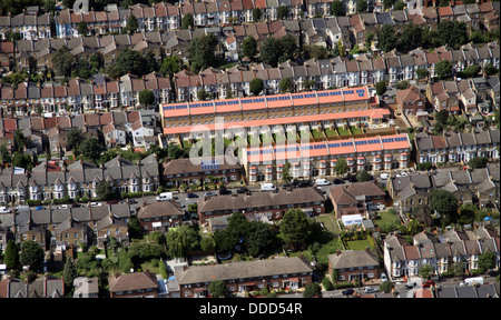 aerial view of brand new housing with solar panels in London - Stock Photo