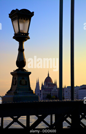Hungarian Parliament Building at Sunrise, Budapest, Hungary, East Central Europe - Stock Photo