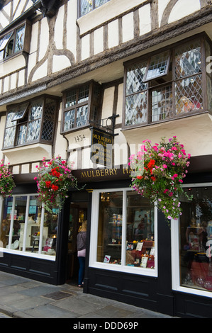 MULBERRY HALL store dated 1434 at Stonegate in the city centre of York North Yorkshire England UK - Stock Photo