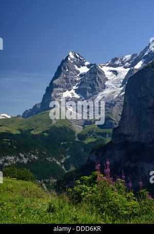 View of Eiger from Murren, Switzerland, Europe - Stock Photo