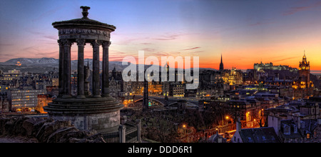 Panoramic view over Edinburgh city centre , capital of Scotland at Sunset, from Calton Hill - Stock Photo