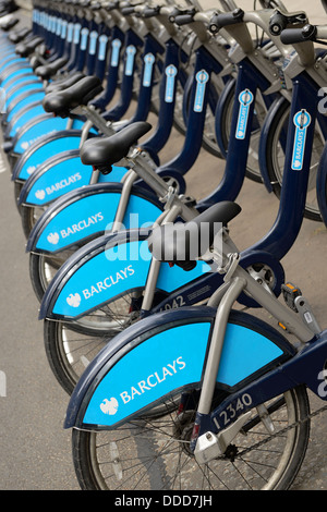 Barclays Cycle Hire Boris Bikes at a Docking Station, London, England, UK. - Stock Photo