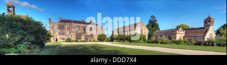 Brympton d'Evercy manor house panorama, including St Andrews Church, near Yeovil, Somerset, South West England, - Stock Photo