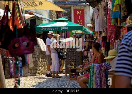 Tourists Shopping, Mostar, Bosnia, Bosnia-Herzegovina, Balkans, South Eastern Europe - Stock Photo