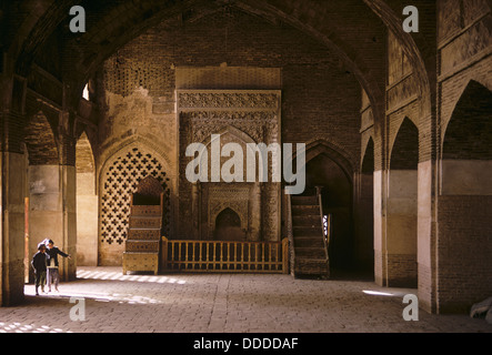 Oljeitu (Mongal) mihrab in the West Iwan of the Friday Mosque, Masjid-i Jami, Isfahan, Iran 690123 022 - Stock Photo