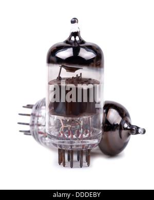 Vintage vacuum radio tubes. Close-up view. Isolated on white background. - Stock Photo