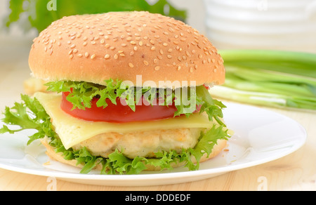 Burger fast food on white plate - Stock Photo