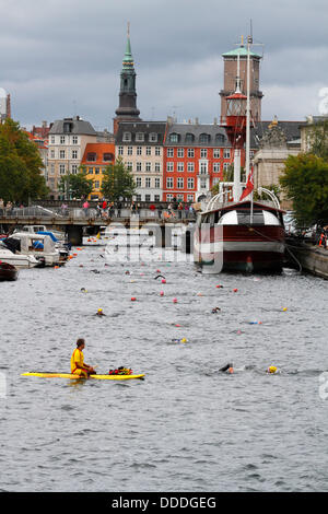 Copenhagen, Denmark. 31st Aug, 2013. 2,400 swim round the Parliament building, the Christiansborg Palace in central - Stock Photo