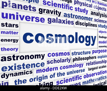 Cosmology scientific message concept - Stock Photo