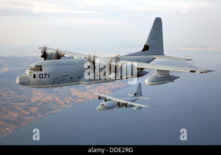 US Marine Corps KC-130J Hercules transport aircraft with Special Purpose Marine Air-Ground Task Force Crisis Response conduct a formation flight August 22, 2013 over Spain. Stock Photo