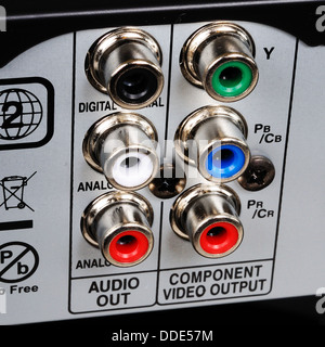 RCA/phono sockets on rear of video appliance. - Stock Photo