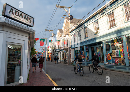 Tranquil scene at Commercial Street in Provincetown, MA on a sunny summer evening in June. - Stock Photo