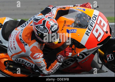 01.09.2013 Silverstone, England.  Marc Marquez (Repsol Honda Team) racing at the British Moto GP from Silverstone. - Stock Photo