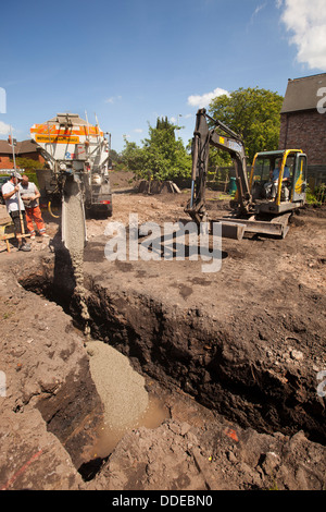 Excavator is digging a house foundation in a residential for Poured foundations