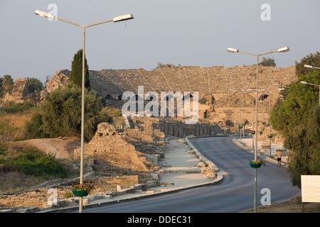 The Roman amphitheatre, Side, Turkey. - Stock Photo