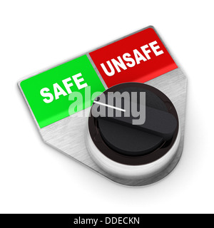 A Colourful 3d Rendered Safe Vs Unsafe Concept Switch Illustration - Stock Photo