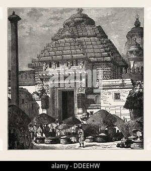 ENTRANCE TO THE TEMPLE OF JUGGERNAUT, INDIA. Hindu Ratha Yatra temple car, which apocryphally was reputed to crush - Stock Photo