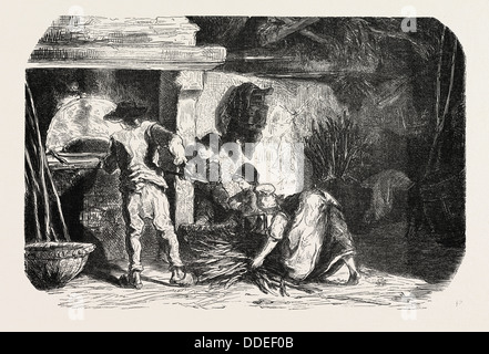 SCENES OF COUNTRY LIFE: The bakehouse. Studies by Damourette. engraving 1855 - Stock Photo