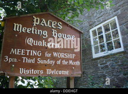 The Pales Quaker meeting house sign Near Llandegley Radnoershire Powys Mid Wales UK - Stock Photo