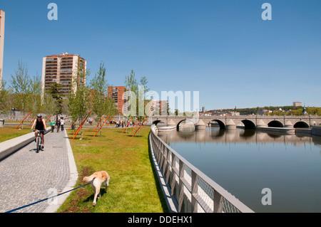 Madrid Rio park and river Manzanares. Madrid, Spain. - Stock Photo