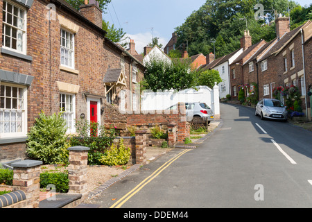Terraced houses in the small market town of Bridgenorth in the Midlands - Stock Photo