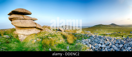 The peak of Showery Tor just north of Roughtor near Camelford on Bodmin Moor in Cornwall - Stock Photo