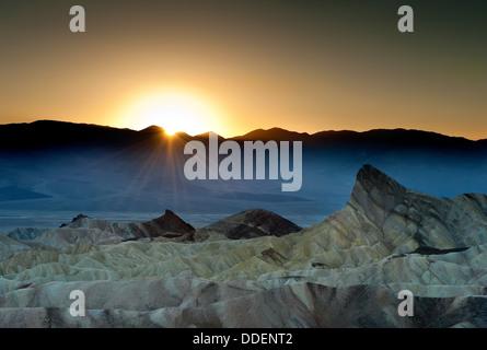 Sunset at Zabriskie Point, Death Valley, CA - Stock Photo