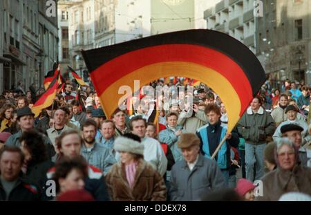 Numerous German flags captured during the demonstrations for the German-German reunification in Plauen, GDR, 27 - Stock Photo