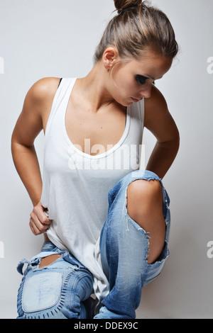 fashion photo of beautiful woman - Stock Photo
