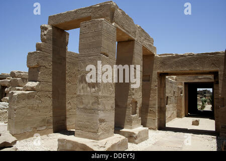 Temple of king Seti I the father of Rameses II 19th dynasty, ruled 1318-1304 BC, west bank, luxor Thebes, Egypt - Stock Photo