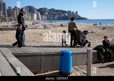 disability access to Levante Beach in Benidorm Costa Blanca Spain - Stock Photo