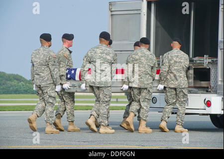 Dover, Delaware, USA . 31st Aug, 2013. A transfer case containing the remains of Staff Sergeant Michael H. Ollis, - Stock Photo