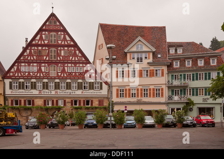 Old house facades from Esslingen market square in Germany - Stock Photo
