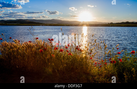 Beautiful sunset over lake in Kochani Macedonia - Stock Photo