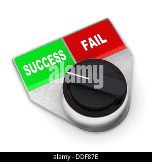 A Colourful 3d Rendered Success Vs Fail Concept Switch Illustration - Stock Photo