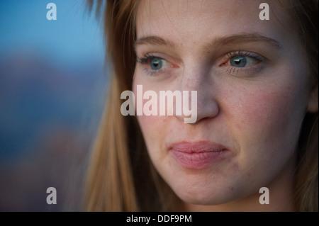 Close-up oung Woman Gazing - Stock Photo