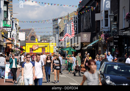 Gardner Street in the North Laine shopping area of Brighton known for its bohemian style shops UK - Stock Photo