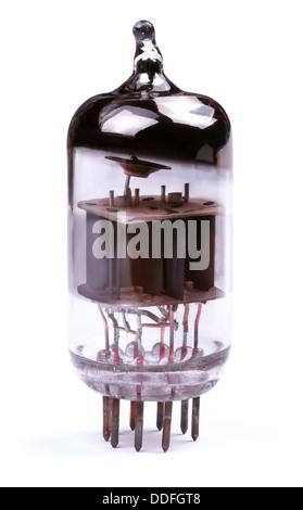 Vintage vacuum radio tube. Close-up view. Isolated on white background. - Stock Photo