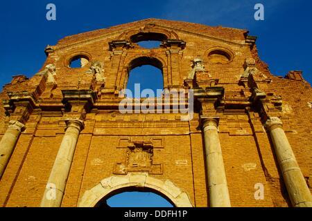 Church of San Martin de Tours, Belchite Old Town Ruins of the Spanish Civil War 1936-1939 Zaragoza, Aragon, Spain - Stock Photo