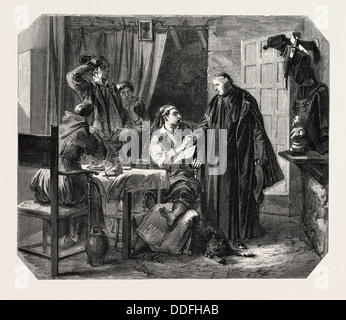 School Sardinia. The news of the death of King Charles Albert, painting by Mr Ferri. engraving 1855 - Stock Photo
