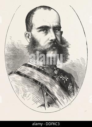 HIS MAJESTY FRANCIS JOSEPH OR FRANZ JOSEPH, 1830 - 1916, EMPEROR OF AUSTRIA, ENGRAVING 1876 - Stock Photo