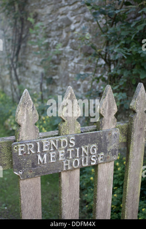 The Pales Quaker meeting house 'Friends Meeting House' sign on wooden gate Near Llandegley Radnoershire Powys Mid - Stock Photo