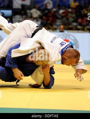 Rio de Janeiro, Brazil. 30th Aug, 2013. Czech judo Alexandr Jurecka (on top) and Joakim Dvarby (Sweden) during man - Stock Photo