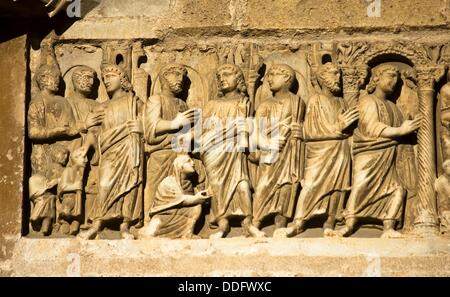 Early Christian Sarcophagus embedded in the wall of the front of the cathedral of Tarragona - Catalonia - Spain - Stock Photo