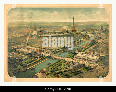 Bird's eye view of the Universal Exhibition of 1900, Paris, France by Lucien Baylac, 1851 1913 - Stock Photo